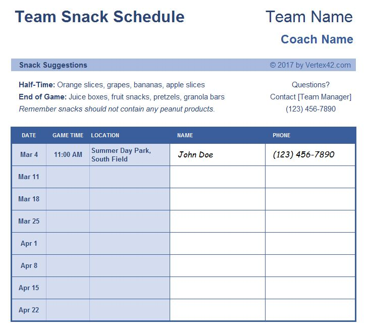 Download the Team Snack Schedule Template from Vertex42.com