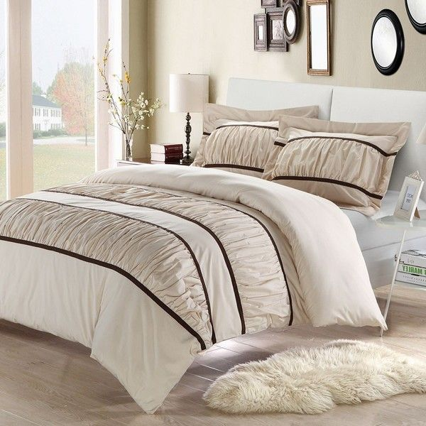 ruched duvet cover set beigekhaki featuring polyvore