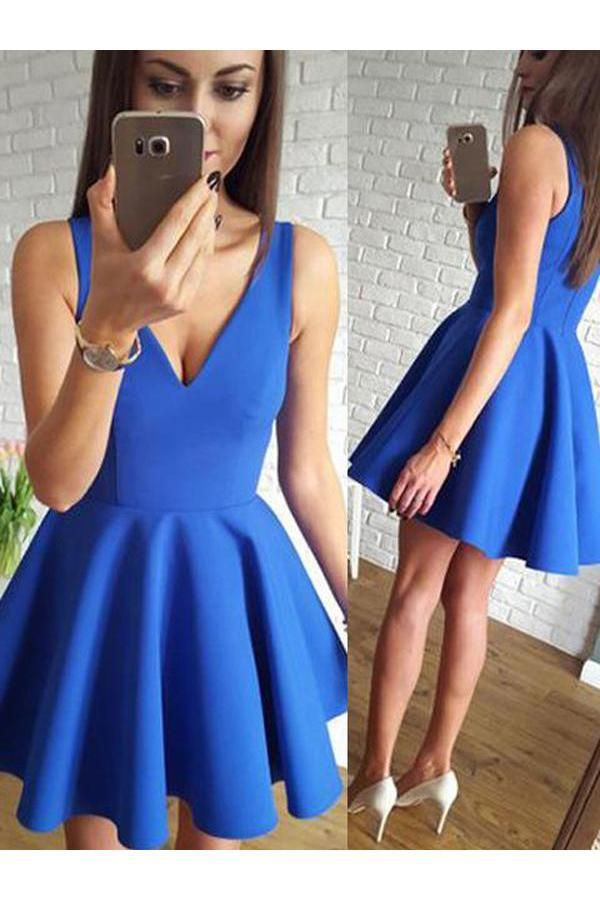 2fe277e597 Cute Royal Blue Satin A Line V-Neck Short Homecoming Dress with  Ruched