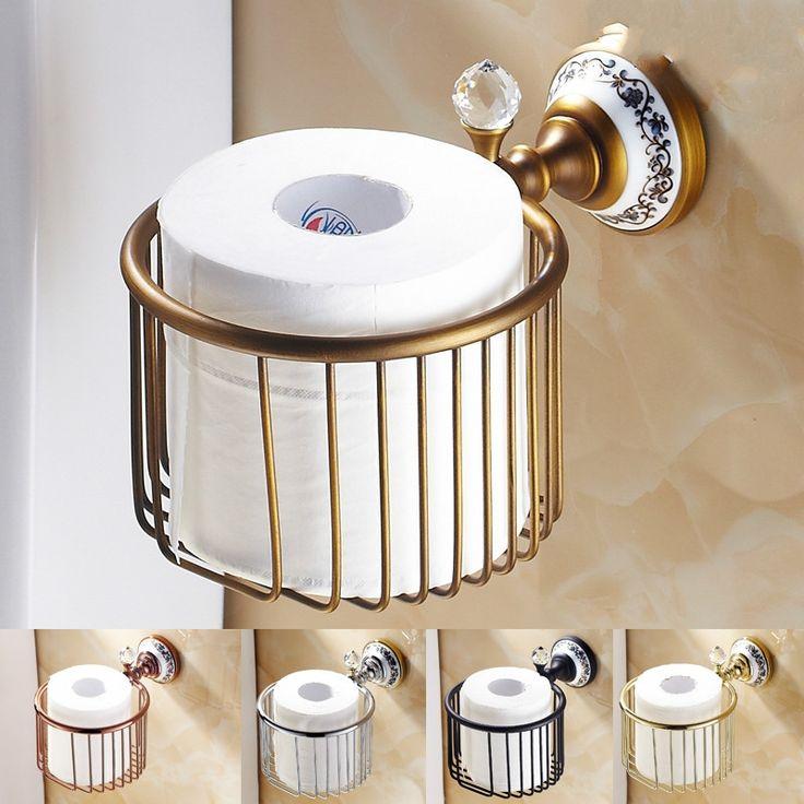31.48$  Buy here - https://alitems.com/g/1e8d114494b01f4c715516525dc3e8/?i=5&ulp=https%3A%2F%2Fwww.aliexpress.com%2Fitem%2FEuropean-Antique-Porcelain-crystal-Toilet-Paper-Roller-Box-Solid-Barss-Toilet-Paper-Basket-Frame-Toilet-Holder%2F32739581602.html - Antique Gold Black Porcelain&crystal Toilet Paper Holder Brushed Solid Barss tissue roll holder Bathroom Accessories ge5