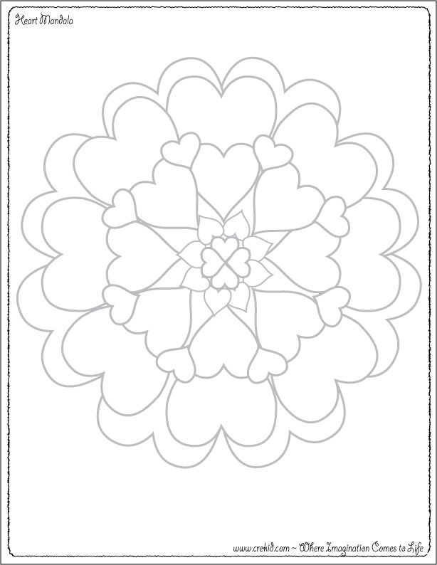 Heart Mandala ~ Doodle Pages for Kids ~ Doodle Printable ~ Doodle Printout ~ Doodle Fun For Kids ~ Kindergarten ~ 1st Grade ~ www.crekid.com ~ Where Creativity & Imagination come to Life