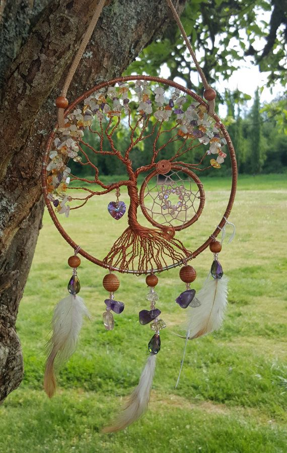 Tree Of Life Dream Catcher Wall Hanging/Copper Tree/Ice Flake Quartz Chips/Amethyst Chips/Amazonite Chips/Swarovski Heart