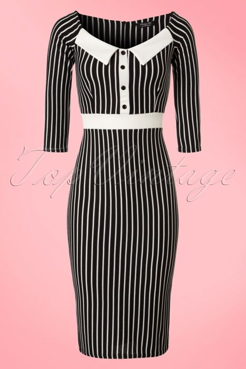 Dancing Days by Banned Black and White Striped Pencil Dress vintage 1950s look retro bodycon jurk jaren 50 stijl strepen zwart wit