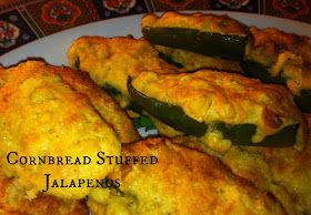 Sugar for Breakfast: Cornbread Stuffed Jalapenos  Can also wrap with bacon.