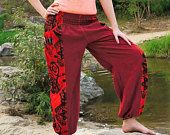 Joggers Red Jogger pants men and  women. Sweat pants. Handmade by Amonchai. www.amonchai.etsy.com
