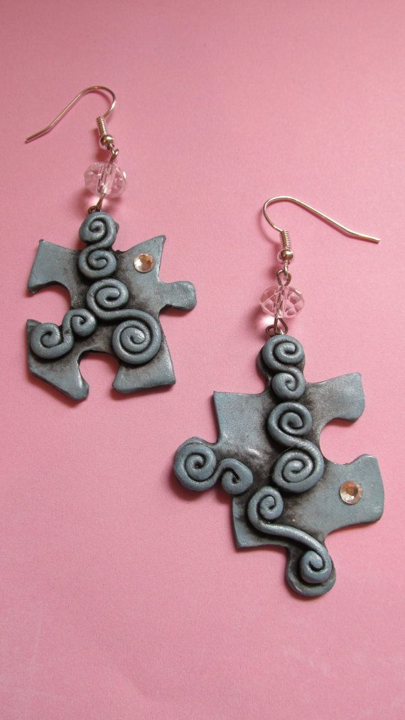 Autism Awareness Puzzle Piece Earrings - in blue, for Cassie?
