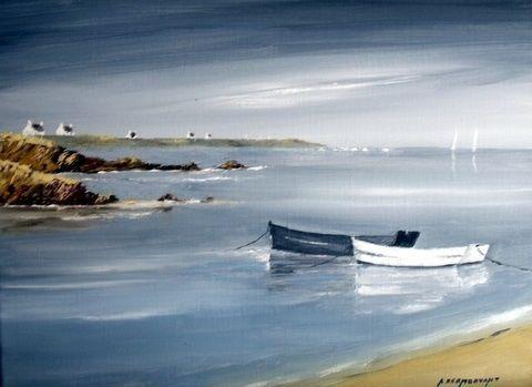 les+barques+Blanche+et+noire+(Peinture),++5x27x35+cm+par+André+Kermorvant+5F+Huile+sur+toile+La+bretagne+et+ses+barques,+la+couleur+du+soir