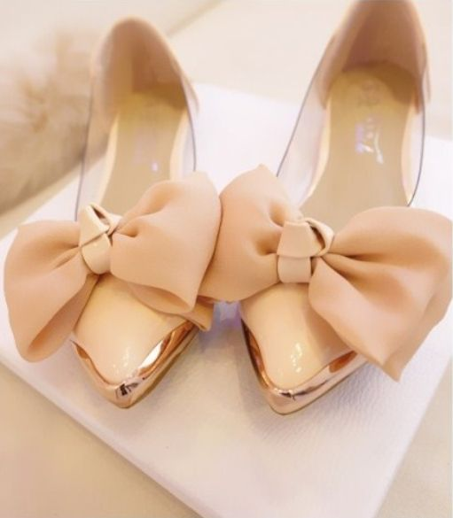 Women Flats Explosion Models OL Career Princess Shoes Bow Transparencies Metal Pointed Shoes Female's Genuine Shoes
