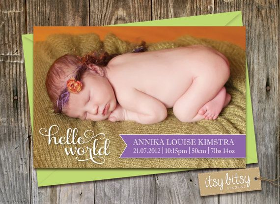 Birth Announcement Baby Announcement Baby Boy by ItsyBitsyCreative, $16.00