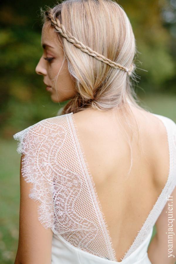 Jolie inspiration robe de mariée by Juliette Deleu. Dos nu et dentelle,  style champêtre. Beautiful wedding backless dress inspiration with lace,