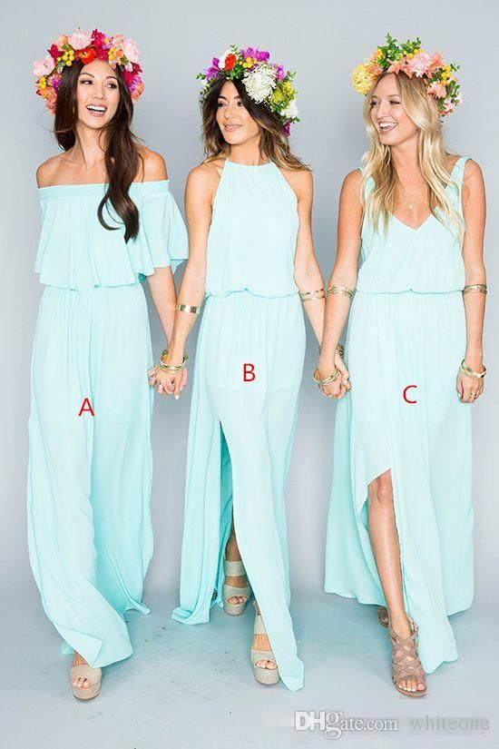 2016 Mint Green Summer Beach Bohemian Long Chiffon Bridesmaid Dresses New Arrival Mixed Style Side Slit Boho Custom Made Maid Of Honor Gowns