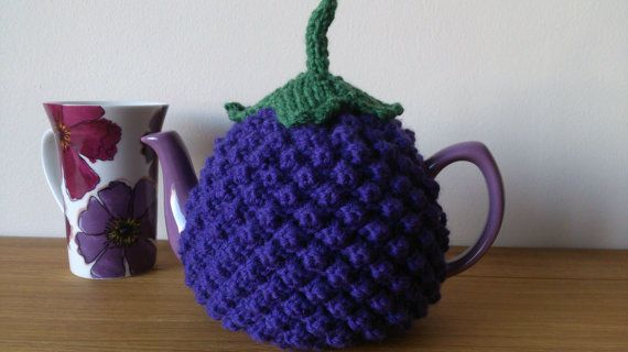 Berry design hand knitted tea cosy   Size Medium  Ready to