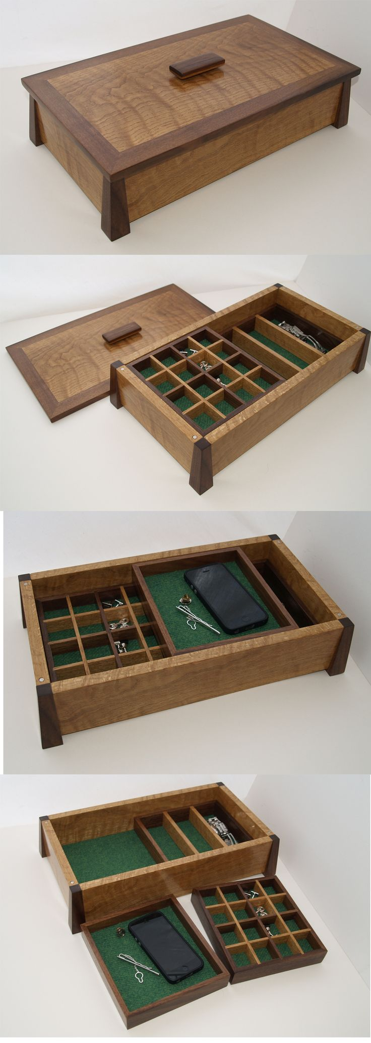 Fine wood box, hand crafted from rippled Oak and Black Walnut. Lined with Harris Tweed. Made by Chisel and Plane.