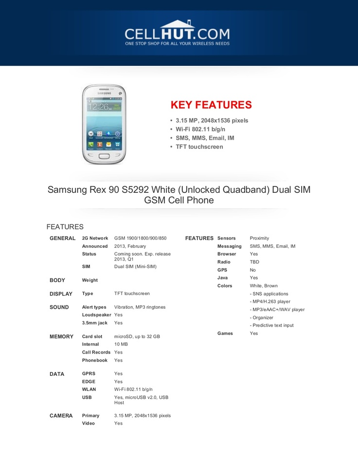 samsung-rex-90-s5292-white-dual-sim-gsm-cell-phonefeaturesspecificationat-cellhut by Cellhut via Slideshare