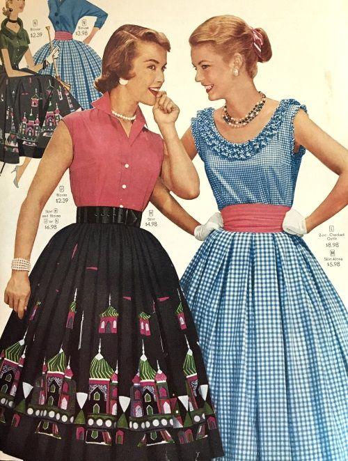 1956 summer skirts and dresses. This border print skirt is adorable. See more at VintageDancer.com