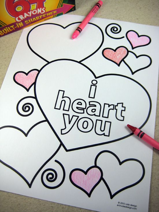 DIY: FREE PRINTABLE VALENTINE'S DAY COLORING SHEETS - this is a good one, you don't have to sign-up or download anything to print them!  :)