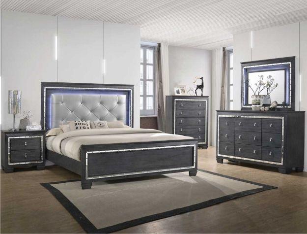 B7000 4 Pc Perina Modern Ash Grey Finish Wood Padded Led Headboard Bedroom Set Bedroom Sets Bedroom Panel Bedroom Set