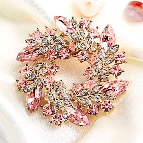 Vintage Rhinestone Crystal Gold Tone Rose Pink Flower Brooch Pin Bridal Bouquet | eBay