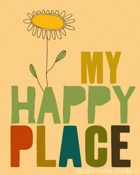 Retro art illustration happy print no place like home for Vintage sites like etsy