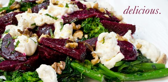 finished image of charred rapini with beets, buratta, and meyer lemon persto