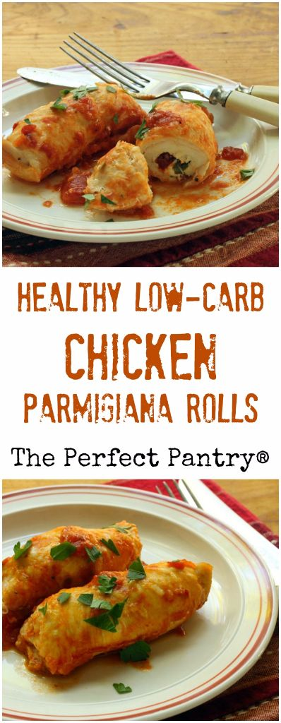 Healthy, low-carb chicken parmigiana rolls: make them ahead and freeze for easy weeknight supper. #glutenfree:
