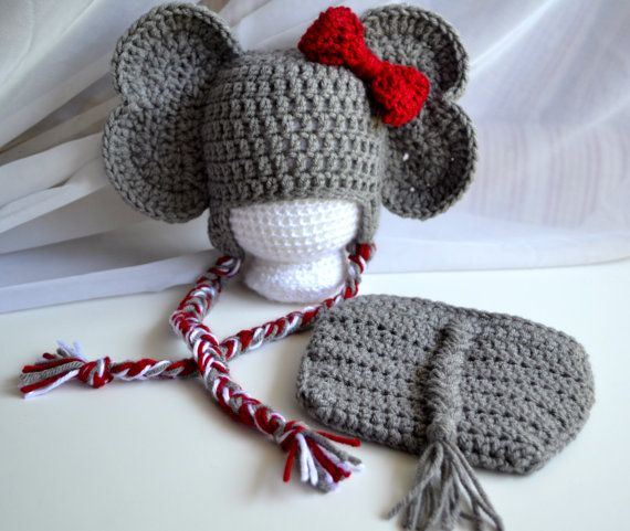 Crochet Elephant Hat & Diaper Cover Set, Boy or Girl, Newborn to 24 Months, Elephant Photo Prop, You Choose Colors, Made to Order on Etsy, $45.00