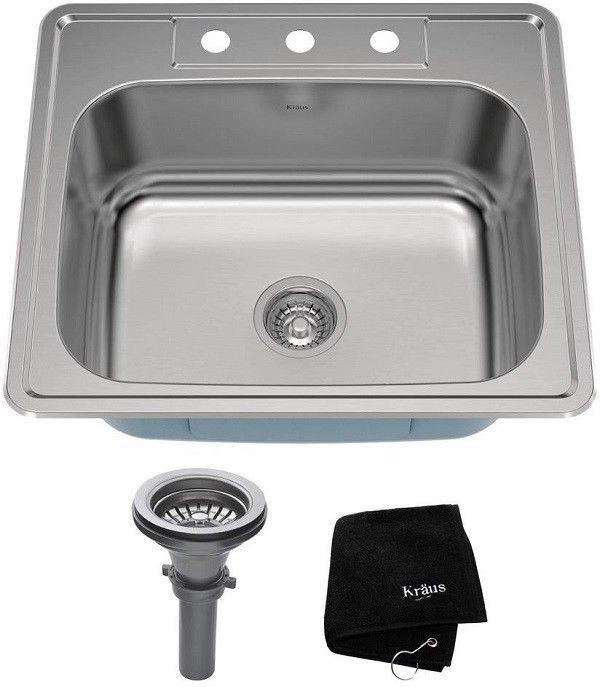Kraus 25 In Stainless Steel Drop In Kitchen Laundry Single Basin Sink Single Basin Sink Sink Basin