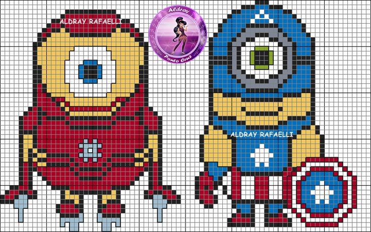 Super Hero Minions Iron Man and Captain America perler bead pattern by Drayzinha