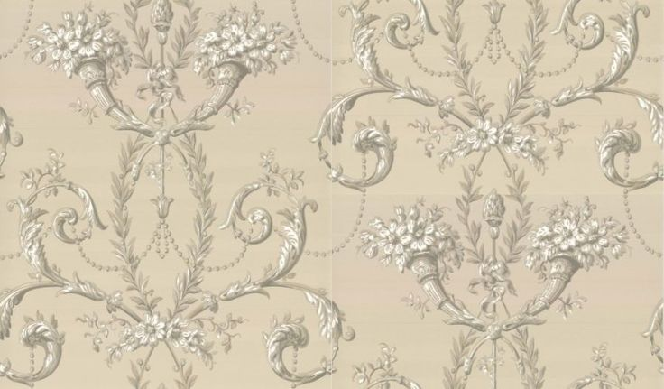 Versailles  (0284VEGUILD) - Little Greene Wallpapers - Versailles is inspired by a document which was printed in graded tones to produce a trompe l'oeil effect. A wallpaper featuring intricate scrollwork and blossoming flowers. Shown here in taupe with silver/grey detailing. Other colourways are available. Please request a sample for a true colour match.
