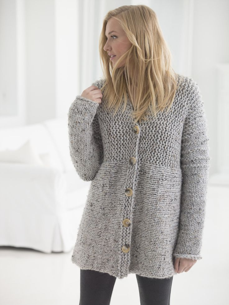 Delicious knit cardigan. New free pattern from Lion Brand.