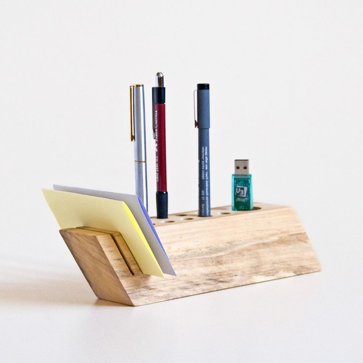 desk organizer handmade from salvaged wood by less & more