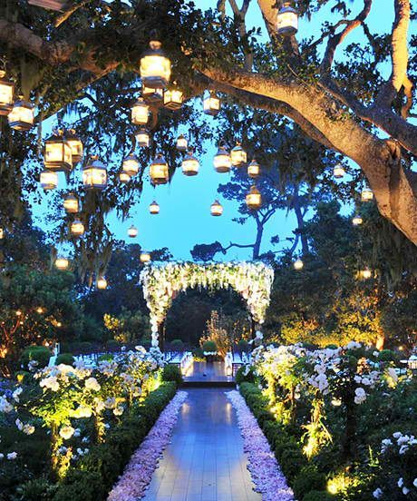 Outdoor Dream Wedding Aisle With Lights