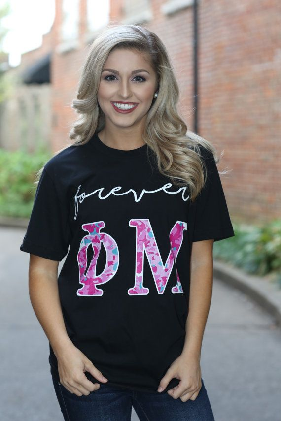 Phi Mu American Apparel Short and Long Sleeve T-shirt - Forever Phi Mu - Phi Mu Letter Shirt