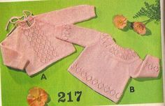 Vintage knitting free patterns, gratis breipatronen onder andere jaren 70 patronen: Babytruitje breien, breipatroon voor schattig baby...