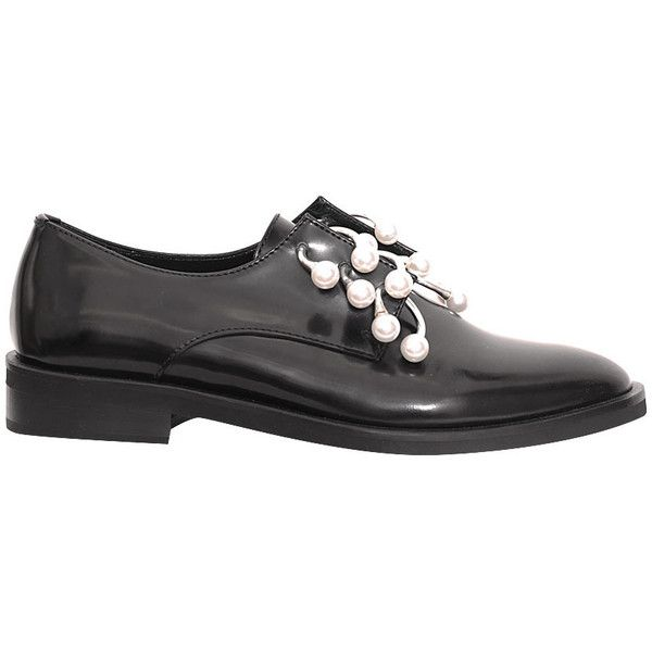 Coliac Anello leather shoes ($696) ❤ liked on Polyvore featuring shoes, nero, leather shoes, polish shoes, real leather shoes, short heel shoes and shiny shoes