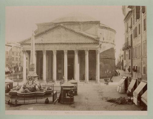 Roma-Il-Panteon-d-039-Agrippa-Vintage-Albumen-Print-Tirage-albumine-21x27