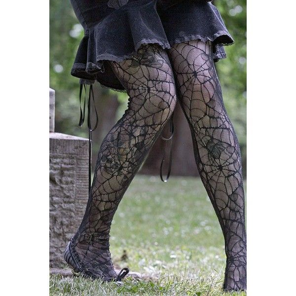 Spider Lace Pantyhose ($9) ❤ liked on Polyvore featuring intimates, hosiery, tights, lace stockings, sheer tights, lace tights, sexy tights and sexy stockings