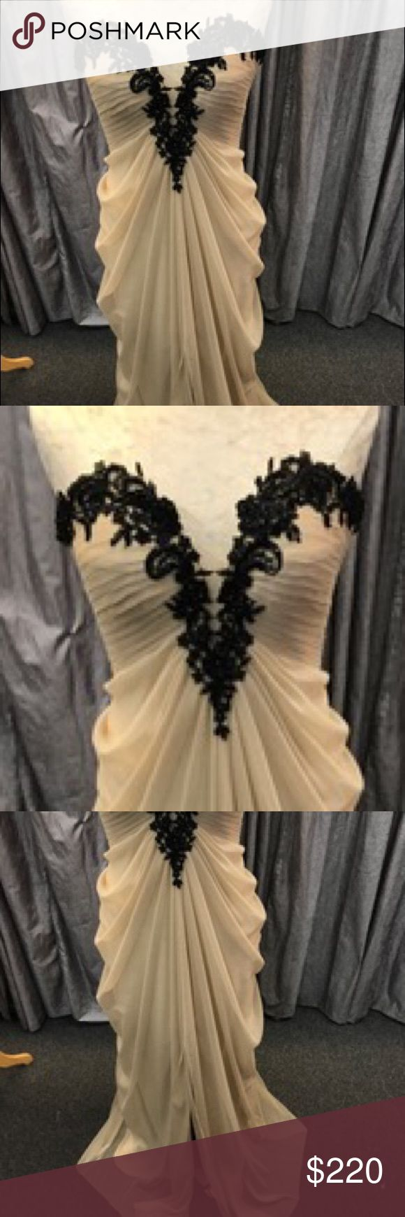 La Femme gown La Femme gown with black lace on top, stretch material. Great condition. La Femme Dresses Prom