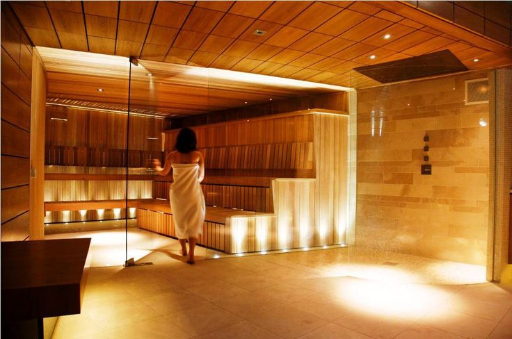 I love the lighting and even more the glass wall looking out to the garden as some saunas can get a little claustrophobic when small.