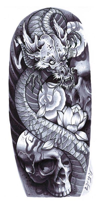 Dragon & Skulls Art Print