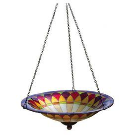 """Hang this eye-catching glass birdbath from a lush tree in your backyard, or display it on a charming garden stake for a touch of whimsy. Its Tiffany-inspired motif and jewel-toned palette brings chic style to your outdoor decor.   Product: BirdbathConstruction Material: GlassColor: MultiFeatures: Tiffany-inspiredDimensions: 21"""" H x 11.5"""" Diameter"""