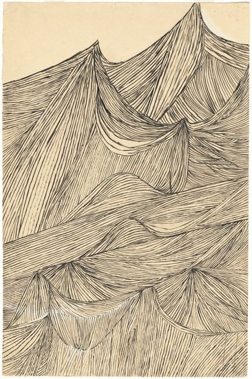 "Louise Bourgeois, Tapestry of My Childhood: Mountains in Aubusson, 1947, brush and ink with gouache – from the exhibition ""No Exit"" (National Gallery of Art, Washington)"