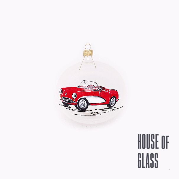 hand painted bauble with old red car | Christmas decorations