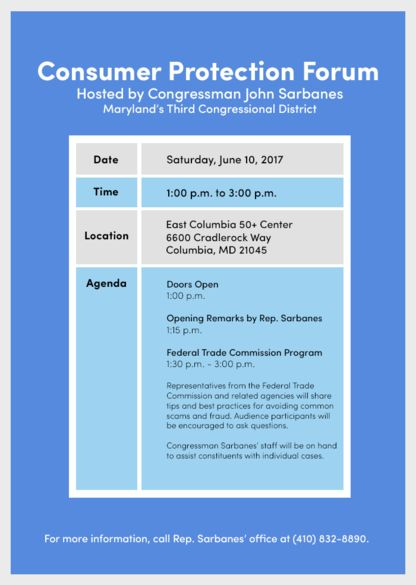 HOW TO JOIN CONGRESSMAN JOHN P. SARBANES AT CONSUMER PROTECTION FORUM ON JUNE 10TH IN MARYLAND!