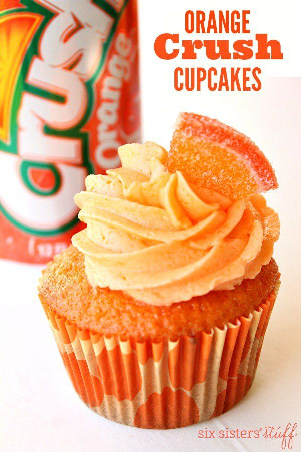 Orange Crush Cupcakes are perfect for any summer party or barbecue.  They have Orange Crush soda in the cake mix and in the frosting.  These cute cupcakes are packed with orange flavor!