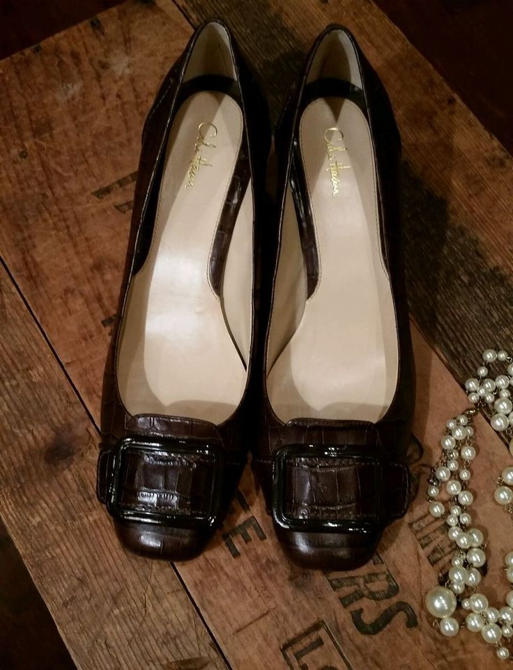 Classy Cole Haan Brown Reptile Embossed Leather Kitten Heels with Buckles Sz 10B | Clothing, Shoes & Accessories, Women's Shoes, Heels | eBay!