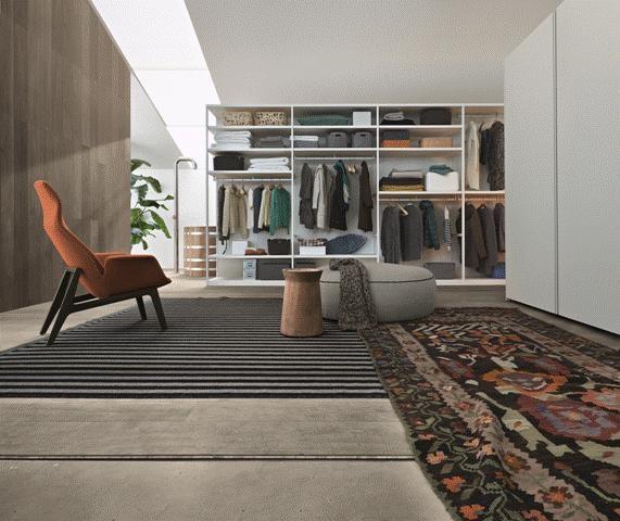 POLIFORM: Ego walk-in, Ventura lounge armchair, Elise pouf and Dama coffee table