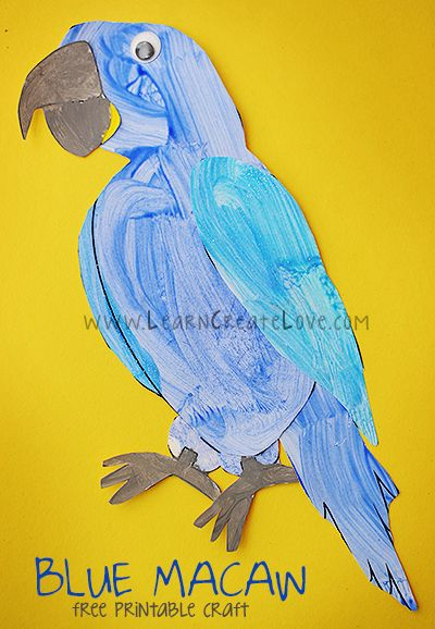 Printable Blue Macaw Craft | LearnCreateLove.com