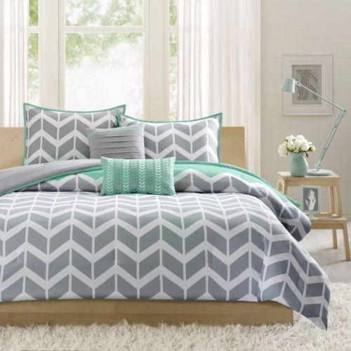 Chevron Comforter Set FULL QUEEN Bed Teal Grey Geometric Bedding Blanket Zigzag | eBay
