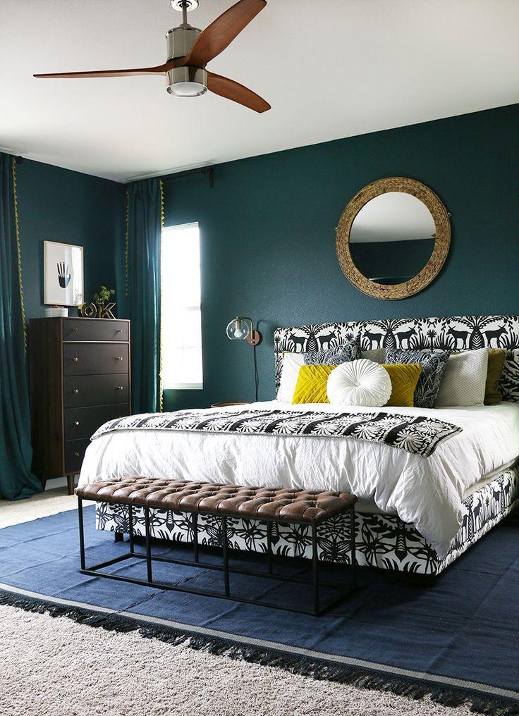 Dark Teal Bedroom Reveal Persia Lou Dark Teal Bedroom Teal Bedroom Walls Teal Master Bedroom